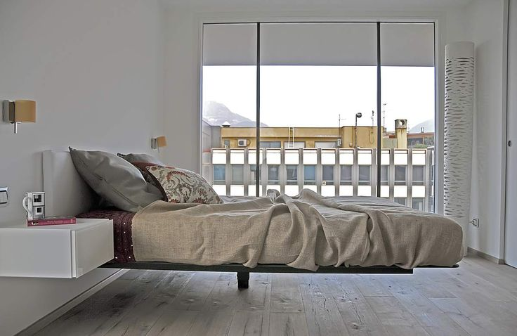 A #bedroom flooded of light #AppartamentoLAGO #Bolzano #Fluttuabed by #Lagodesign