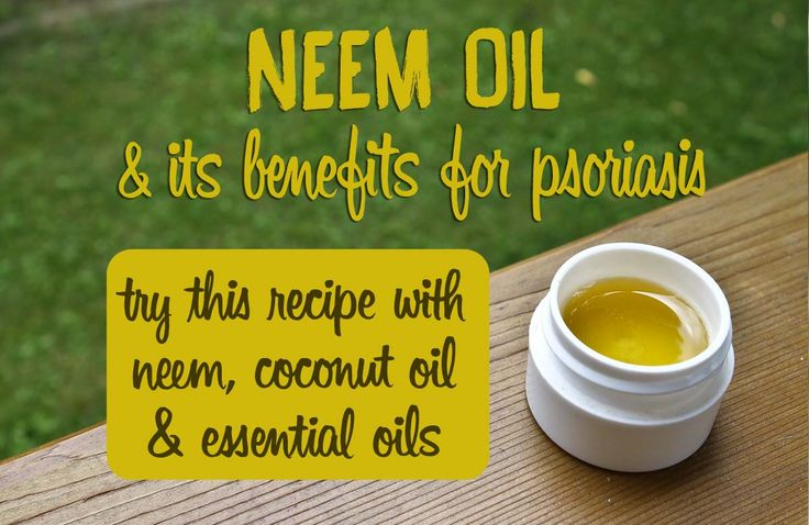 Discover neem oil and its amazing benefits for skin! This page (http://www.optiderma.com/recipes/neem-oil-for-psoriasis-recipe/) includes a great recipe with coconut oil, neem oil and an essential oil that is very beneficial for psoriasis.