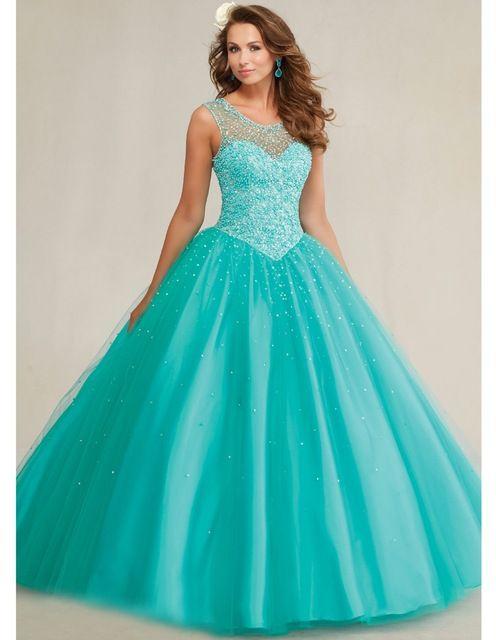 Quinceanera 15 años vestidos de 15 años 2015 azul del dulce 16 vestidos de la muchacha cristalina del partido de la mascarada debut vestidos de bola YK_065