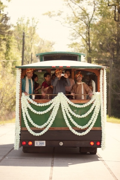 Baraat arriving in a trolley   #indian #weddings Indian Baraat, wedding transport  www.weddingsonline.in