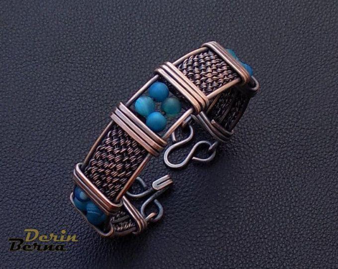 Men Bracelet,Men copper cuff bracelet,Men Jewelry,Men Bracelete,Gift for men,Blue agate men Bracelete,Viking Men Cuff Bracelet,Free Shipping