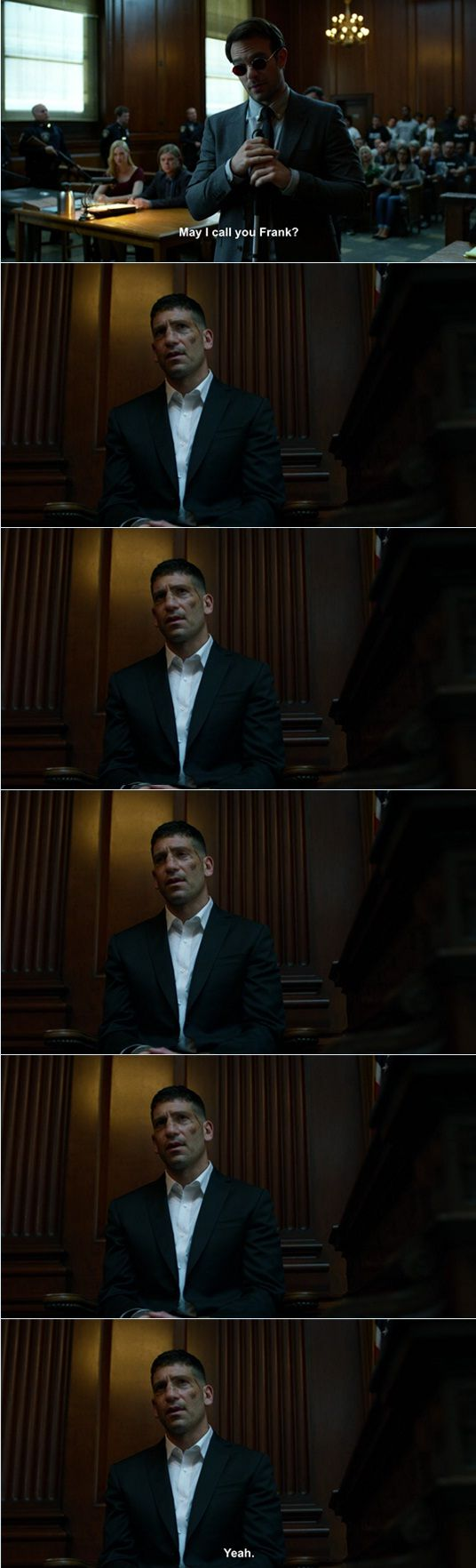 "Matt: May I call you Frank? (long awkward pause) Frank: Yeah. #Marvel #Daredevil #netflix 2x08 ""Guilty as Sin"""