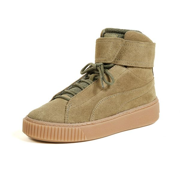 PUMA Platform Mid OW Sneakers (158 AUD) ❤ liked on Polyvore featuring shoes, sneakers, velcro shoes, platform high top sneakers, leather hi top sneakers, velcro high tops and leather sneakers