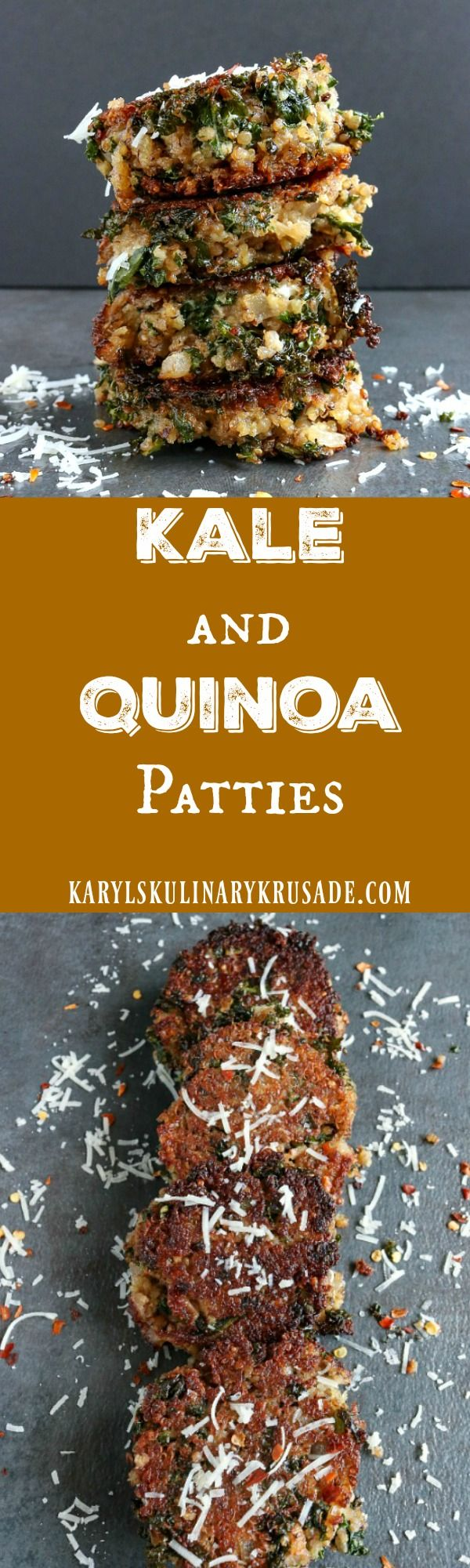 Kale and Quinoa Patties. A wnderfully flavorful combination of superfoods, these pan-fried patties are perfect for a hearty lunch that your family will love #kale #quinoa #superfoods #cheese #panfried #lunch #healthy #hearthealthy #karylskulinarykrusade
