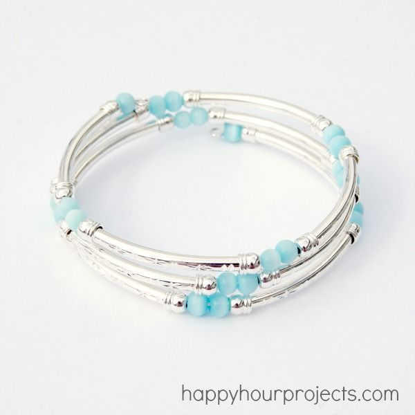 Memory Wire bracelet with wire tube - I have some of this tubing and need to make one of these - this tutorial has inspired me to get my beads out soon.