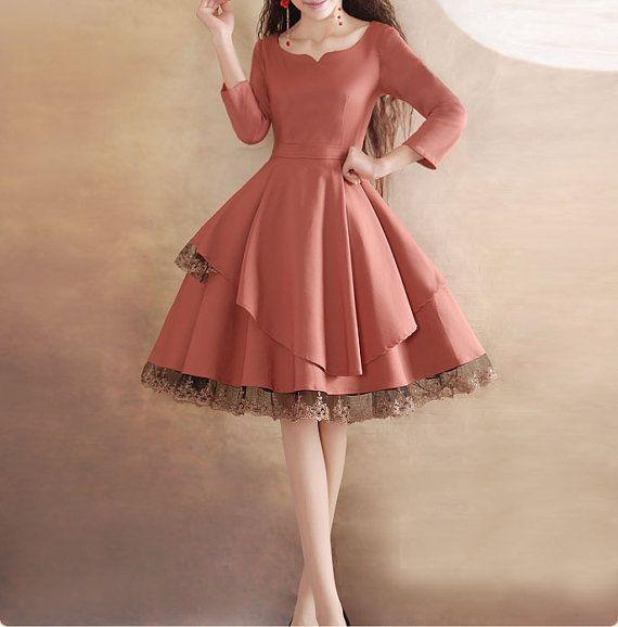 Dark Pink lace dress wedding dress party dress by happyfamilyjudy $99.99