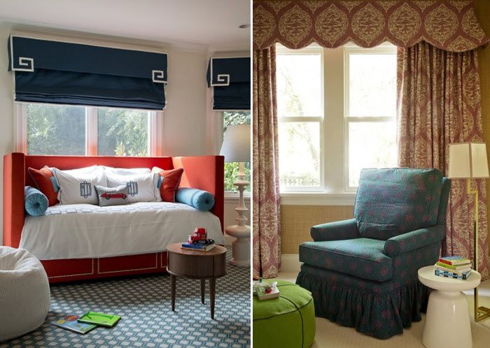Love the valance and roman blind.  Design by Palmer Weiss