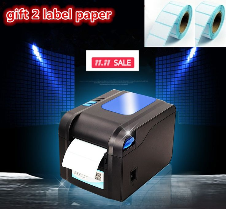 55.00$  Buy here - http://ai0qp.worlditems.win/all/product.php?id=32651773566 - 2016 new Gift2 labels paper+370B label printer clothing tags supermarket price sticker printer Support for printing 22-80 mm wid