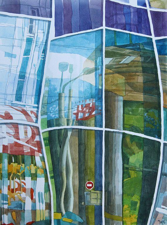 Original watercolor painting for sale! painting of mirror in the window. Ukraine art. Signed painting by ukrainian artist Yaroshenko Aleksandr. Take a look at my paintings Gallery on Etsy!