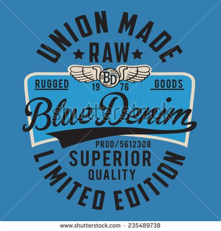 Denim typography, t-shirt graphics, vectors