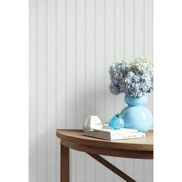 Nextwall Faux Beadboard Off White Vinyl Peelable Roll Covers 30 75 Sq Ft Nw35800 The Home Depot Peel And Stick Wallpaper Wallpaper Roll Beadboard