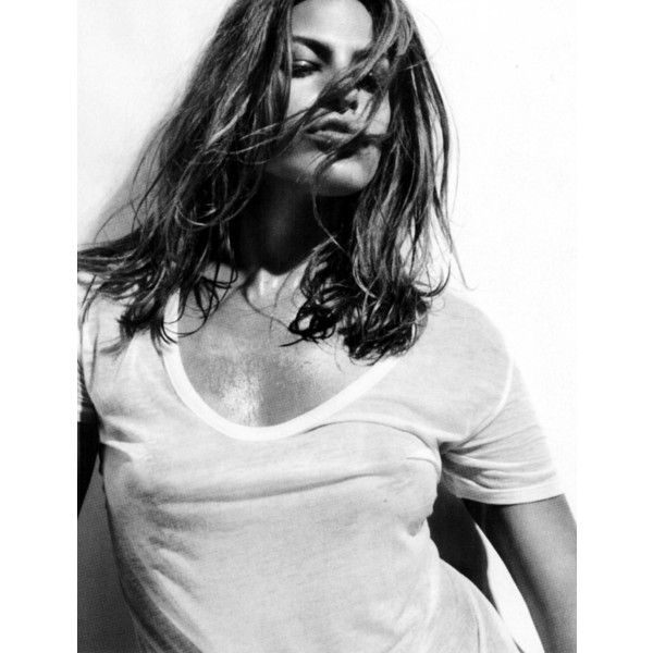 Egotastic! Image Viewer - Eva Mendes Wet T-Shirt Pictures in Allure ❤ liked on Polyvore featuring tops and t-shirts