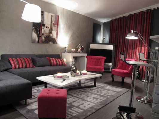S jour rose et gris d co sophie levitte home for Salon sejour gris
