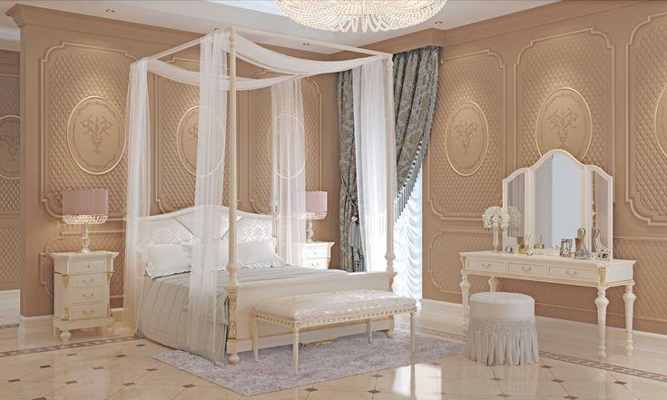 Camera da letto della #CollezioneCarlotta di #2Elle: letto a baldacchino con testata imbottita e mobili su misura per uno stile essenziale ma elegante. Finitura colore laccato bianco e vera foglia oro #FalegnameriaArtigianaleToscana #ArredoConStile