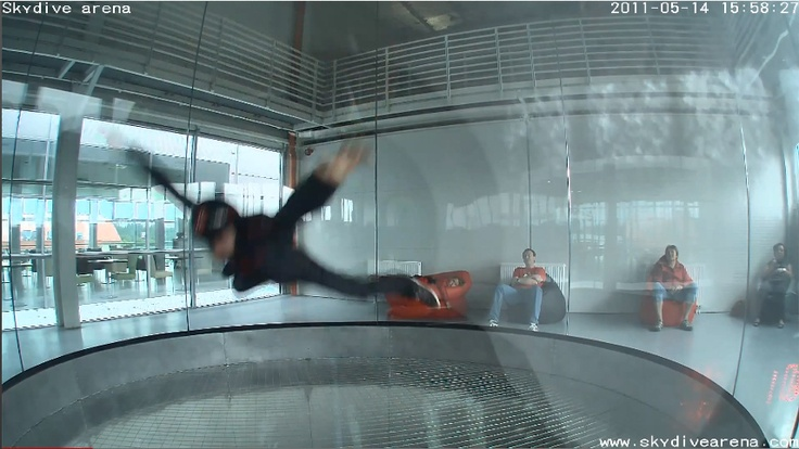 Inspiration. Skydive Arena - Hurricane Factory , Prague, Czech Republic. Skydive in wind tunnel - safe adrenaline sport. (Image Credit: Screenshot taken from Video in source, 2011)