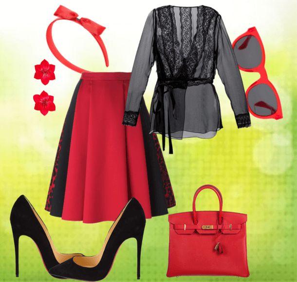 Юбка, шёлковая блузка, туфли, сумочка, обруч, клипсы