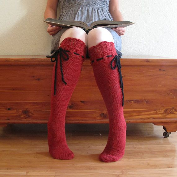 Knee High Socks Classic Red Lace with Black by pinkcandystudio, $95.00