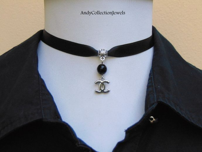 Black wide satin choker Replica chanel charm choker Black agate charm choker Replica louis vuitton charm choker Gift for her jewelry by AndyCollectionJewels, $13.00 EUR