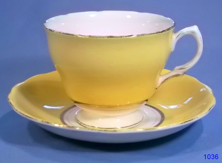 Tea Cups and Saucers | harlequin yellow tea cup and saucer vintage tea cup and saucer ...