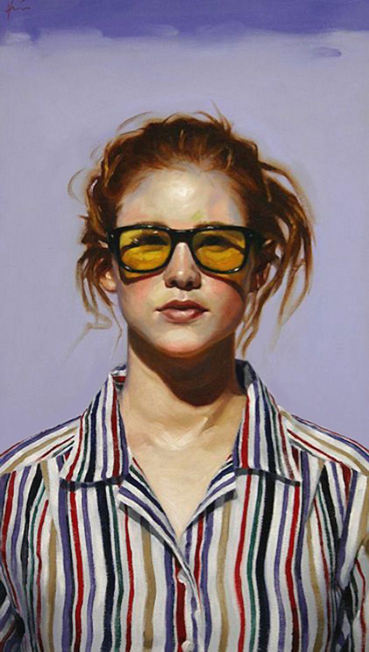 """Yellow Shades"" - Jeff Hein (b. 1974), oil on canvas, 2004 {figurative art female head woman face portrait painting #loveart} jeffhein.com"