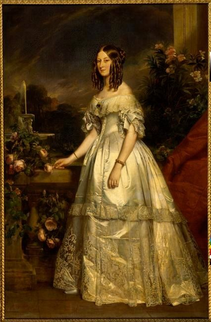 1840 Victoire-Auguste-Antoinette, Princesse de Saxe-Cobourg-Gotha, Duchesse de Nemours by Franz Xavier Winterhalter (Versailles)   Grand Ladies   gogm:
