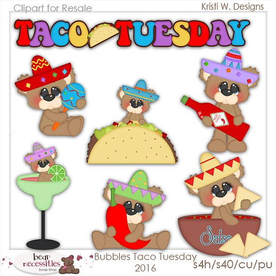 Clipart Taco Tuesday Clipart Taco clipart  Bear by CooperStation