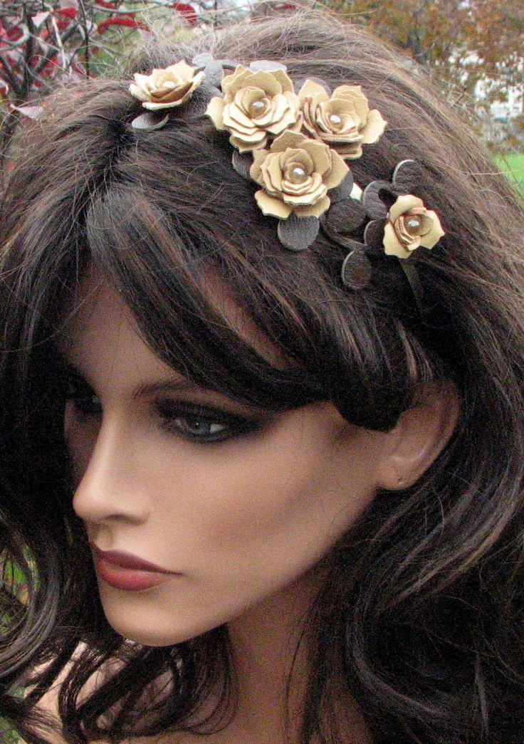 Yellow flower headband leather champagne by Leatherblossoms