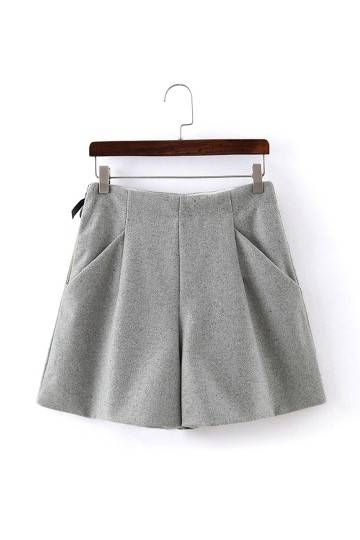 Wide Leg Shorts in Grey - US$25.95 -YOINS                              …