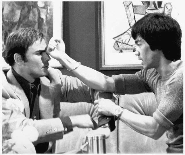 Bruce Lee & John Saxon on the set of Enter  the Dragon