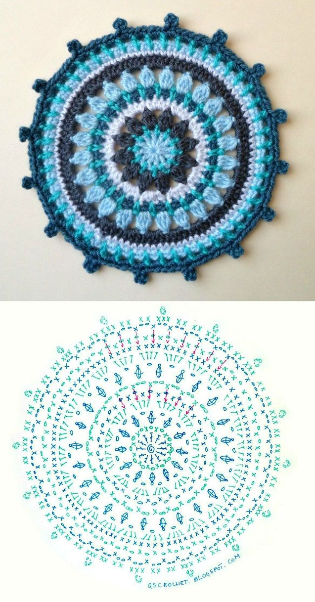 crochet mandala chart #qscrochet                                                                                                                                                      More