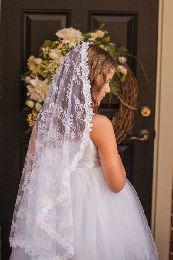 Mantilla First Communion Veil by firstcommunionveils on Etsy
