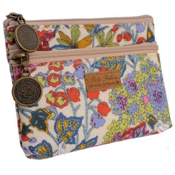 Women's Girl's Lovely Floral Print Double Zipper by ILoveKewpie