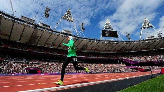 Sarah Attar of Saudi Arabia competes in the Women's 800m Heats #OlympicsThe Women, London2012, 2012 Olympics, London 2012, Saudi Women, Clovers Pinboard, Sarah Attar, Saudita Corr, Saudi Arabia