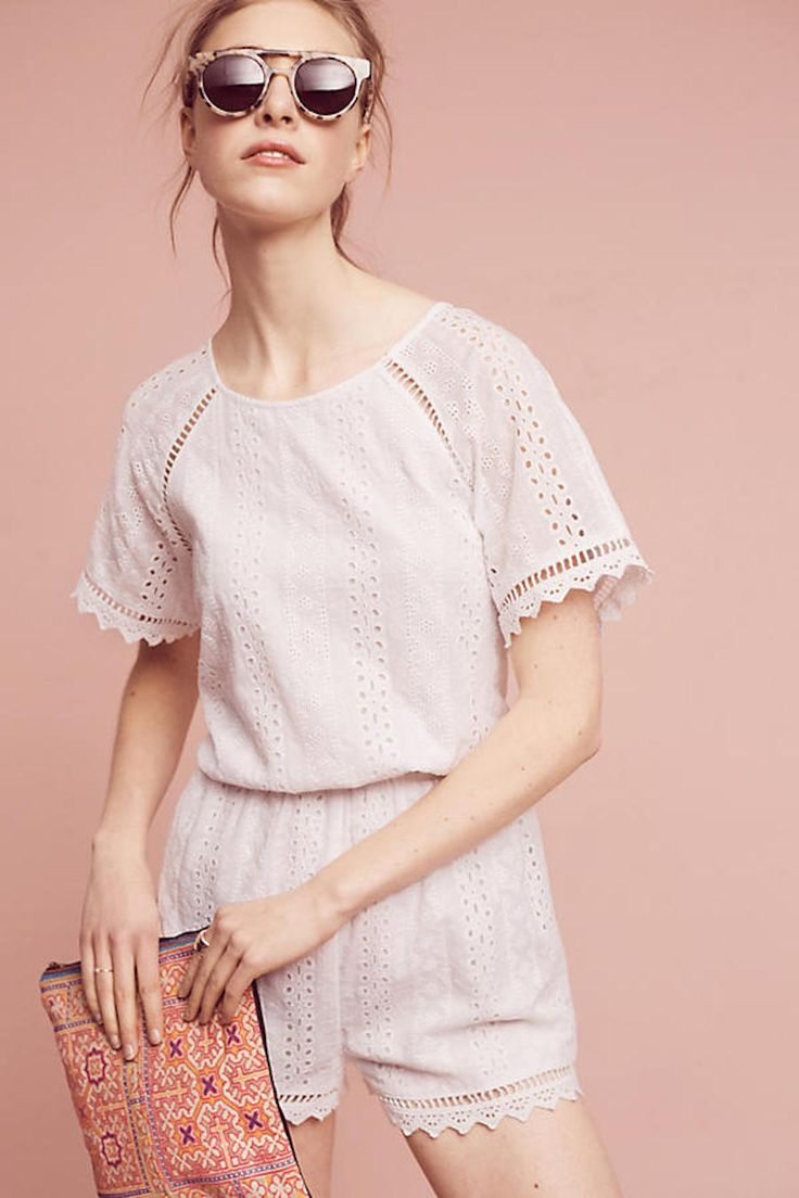 <div>$96</div><div>The key to beating rising temps? Doing the no pants dance! If your rehearsal dinner is a casual summer affair, a romper is perfectly suited for the occasion. The pretty eyelet detail gives off sweet bride-to-be vibes and the silhouette can be dressed up with statement-making jewelry, classic wedges or a metallic sandal.</div>