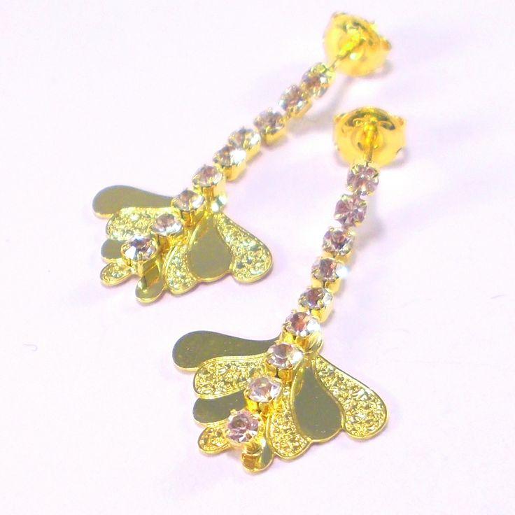 18ct Gold Plated Butterfly Wing Earrings with Row of Strass Stones - £12 http://www.almojewellery.com/18ct-gold-plated-butterfly-wing-earrings-with-row-of-strass-stones/18-carat-gold-plated/gold-plated-earrings/fancy-earrings