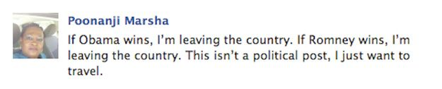 The 25 Funniest Facebook Status Updates Of The 2012 Presidential Election