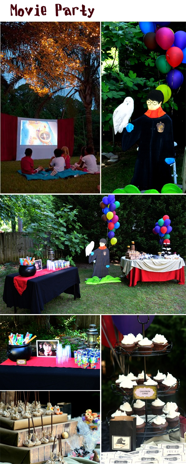 Decoration ideas for hosting a Harry Potter Movie party with an inflatable movie screen - Southern Outdoor Cinema expert tip for theming and enhancing an outdoor movie event.