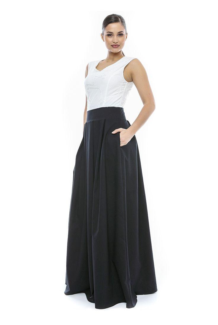 Rochie lunga de ocazie negru cu alb CR012VA de la Ama Fashion