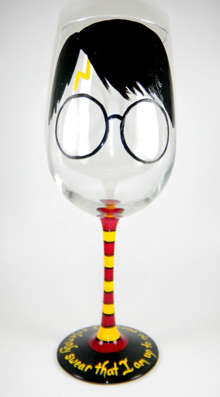 Harry Potter inspired Wine Glass by ImpulsiveCreativity on Etsy, $22.00 @Jennifer Lindahl