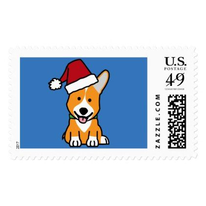 #Corgi dog puppy Pembroke Welsh Christmas Santa hat Postage - #pembroke #welsh #corgi #puppy #dog #dogs #pet #pets #cute #pembrokewelshcorgi