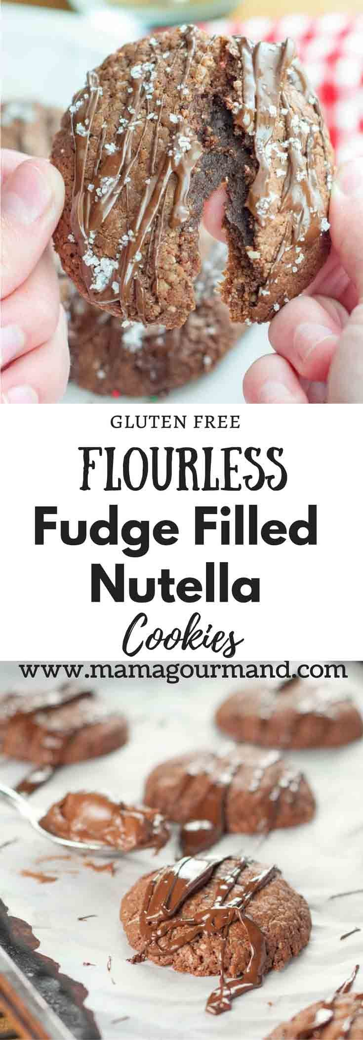 Flourless Fudge Filled Nutella Cookies have a simple two ingredient fudge stuffed inside an easy three ingredient cookie that tastes absolutely heavenly! #glutenfreecookies #nutella #flourless #christmascookies https://www.mamagourmand.com via @mamagourmand