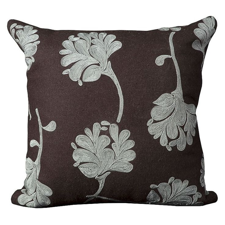 Mina Victory Floral Metallic Throw Pillow, Brown