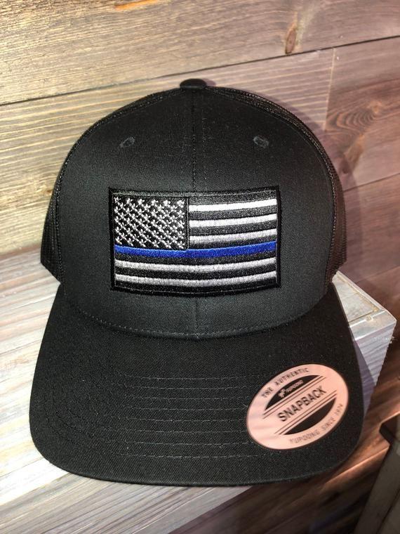 Thin Blue Line USA American Flag Patch Snapback Trucker Mesh Cap Black