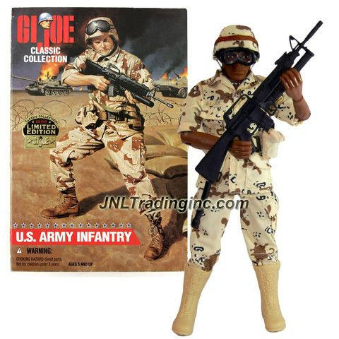 Hasbro Year 1996 Limited Edition G.I. JOE Classic Collection Series 12 Inch Tall Soldier Action Figure - U.S. ARMY INFANTRY (African American Version) with Desert Camouflage, Helmet, Boots, Belt, Pouches, Entrenching Tool with Cover, Canteen, Goggles and M-16 Rifle with Grenade Launcher