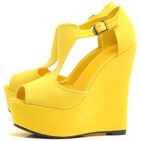 Best 25  Yellow wedges ideas on Pinterest   Sexy heels, Wedge ...