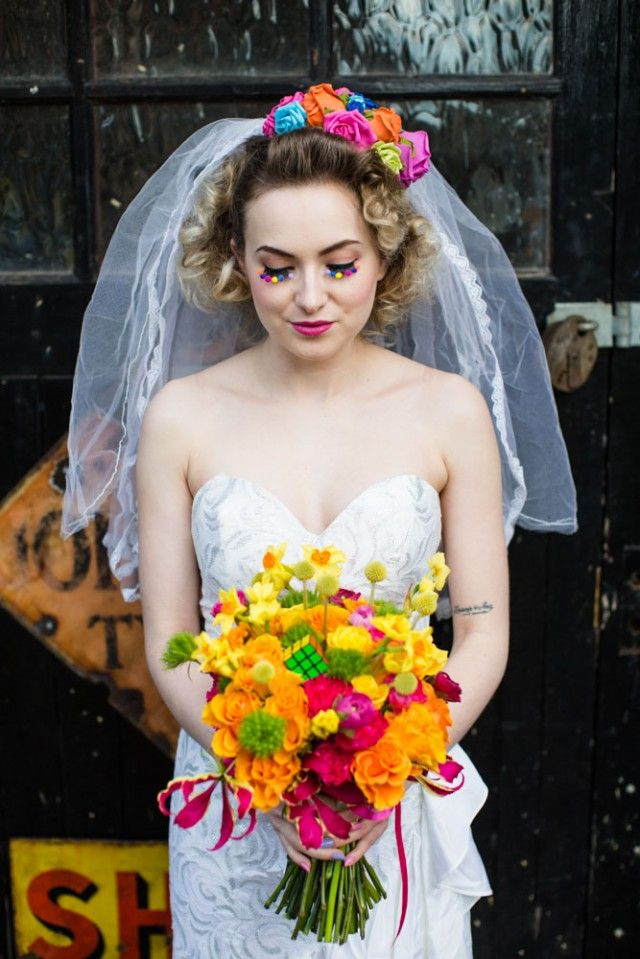 1980s bridal shoot at Rock'n Roll Bride