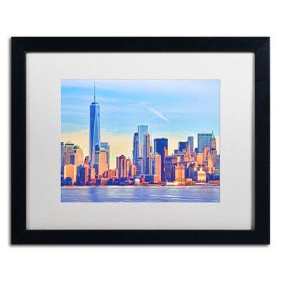 Trademark Art 'Skyline Manhattan' by Adam Kadmos Framed Painting Print
