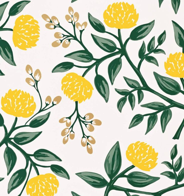 The Peonies Yellow wallpaper features yellow peonies, metallic gold berries, and rich greenery printed on white paper | Coated paper, screen printed | Rifle Paper Co.