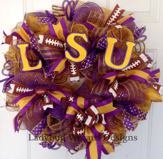 LSU Deco Mesh Wreath by Ladybug Wreath Designs