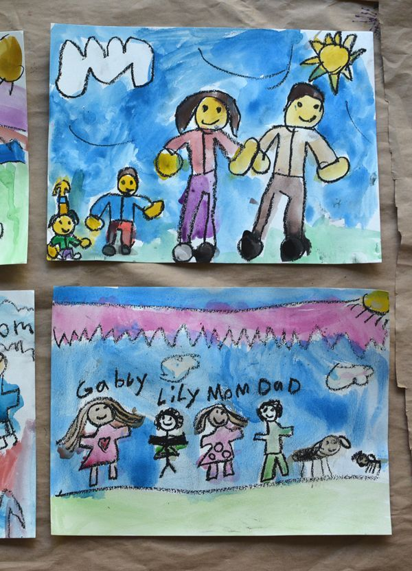 Oil pastels & watercolor: Family portraits make the best keepsakes. I can't wait for my girls to do this!
